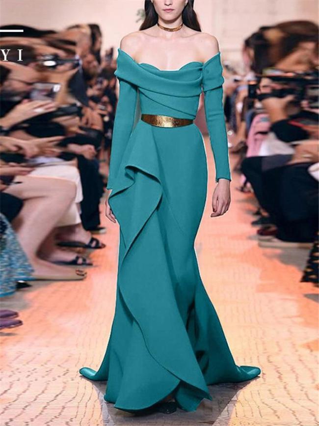 Flattering Off Shoulder Asymmetric Ruffle Trumpet Dress for Prom