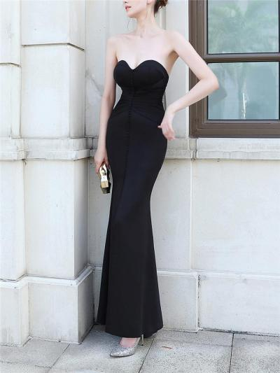 Attractive Sweetheart Neckline Ruched Detail Slit Gown for Evening Party