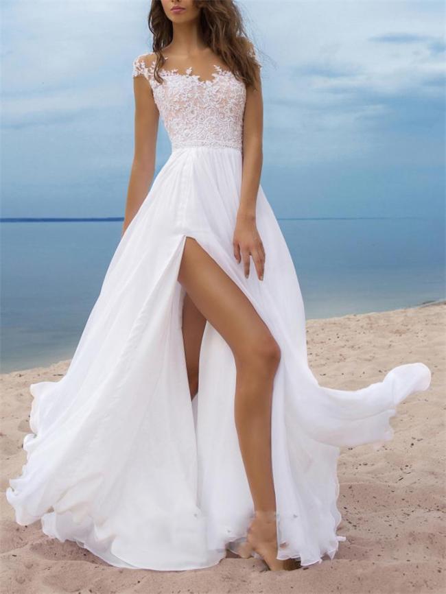 Decent Floral Side Slit Maxi Chiffon Dress for Wedding
