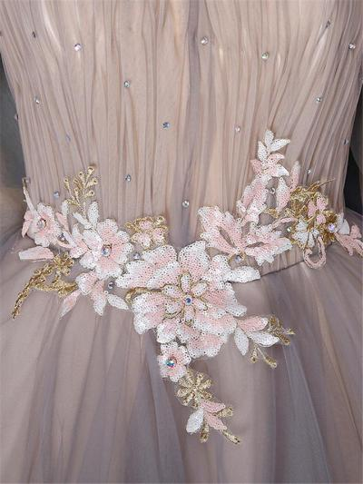 Gorgeous Illusion Neck Fitted Waist Applique Fairy Dress for Prom