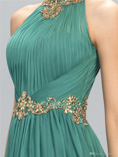Pretty Halter Neck Beaded Fitted Waist Dress for Evening