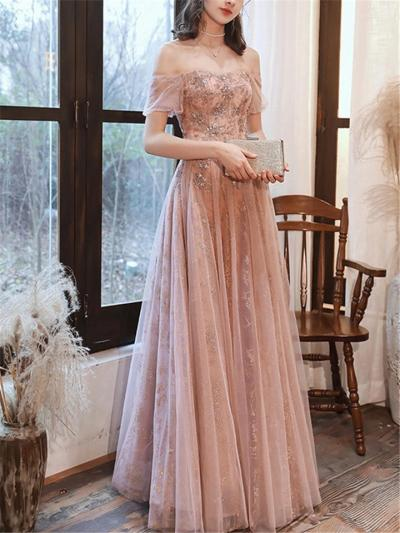 Elegant Off Shoulder Fitted Waist Sequined Tulle Dress for Evening Party