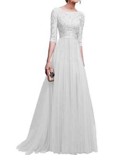 Round Neck 3/4 Sleeve A-Line Long Evening Dress for Formal Party