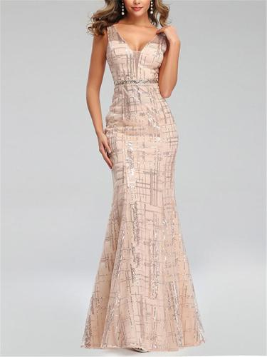 Gorgeous V-Neck Mermaid Rose Gold Long Gowns for Evening Party