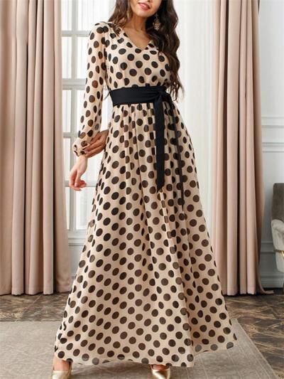 Pretty Polka Dot Waist Tie V Neck Long Sleeve Dress for Prom