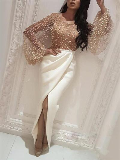 Gorgeous Batwing Sleeve Beaded Wrap-Over Hem Dress for Prom