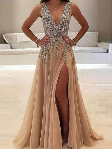 Glamorous V Neck Sequined Fitted Waist Side Slit Dress for Prom