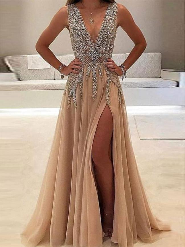 Glamorous V Neck Sequined Fitted Waist Side Slit Dress for Prom