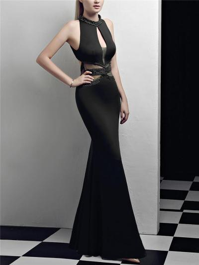 Gorgeous Halter Neck Thigh High Slit Fitted Waist Dress for Prom