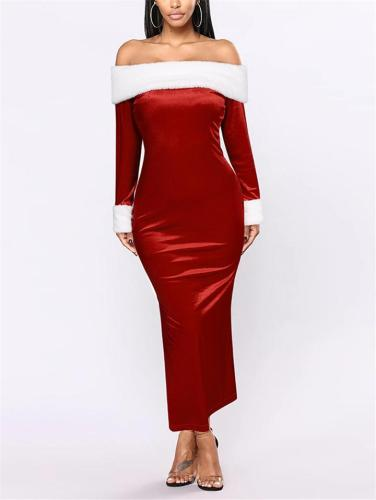 Christmas Themed Off Shoulder Long Sleeve Back Slit Dress for Party