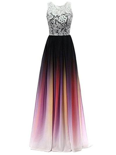 Pretty Floral Gradient Chiffon Dress for Prom Evening