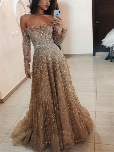 Shimmering Off Shoulder Long Sleeve Fitted Waist Dress for Prom