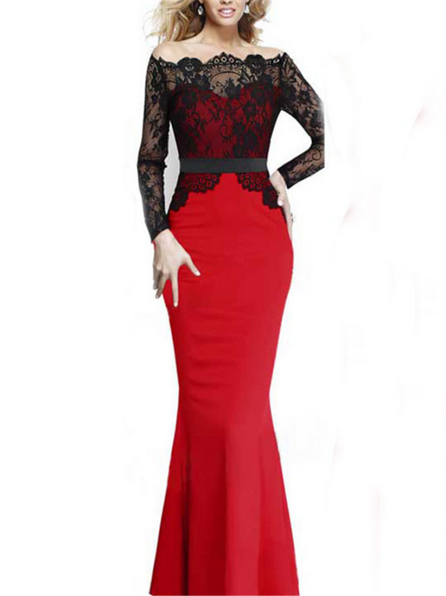 Gorgeous Lace Bodice Crepe Mermaid Maxi Dress for Prom