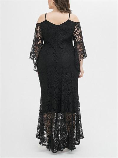 Elegant Plus Size Sweetheart Neckline Off Shoulder Lace Dress for Prom