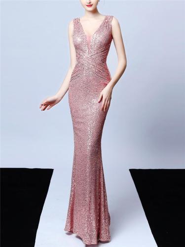 Glittering Sequined V Neck Mermaid Dress for Prom