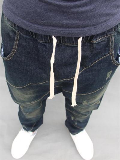 Mens Hip Hop Baggy Street Harem Ankle Jeans