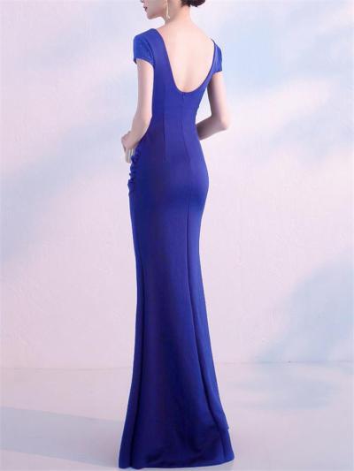 Pretty Beaded V Neck Side Slit Dress for Evening Party