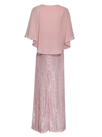 Shiny Round Neck Batwing Bodycon Cape Maxi Dress for Party