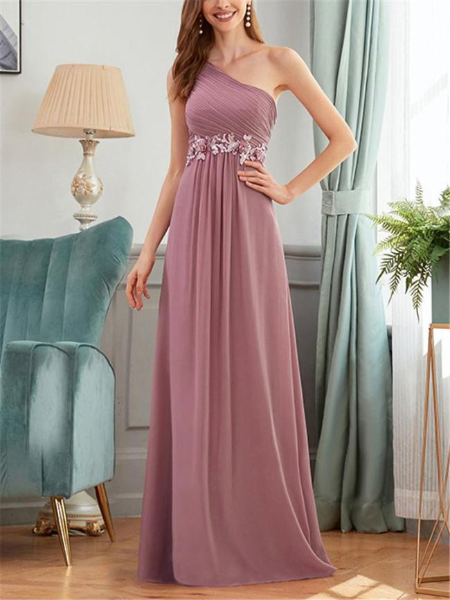 Flowing One Shoulder Floral Applique Fitted Waist Dress for Prom