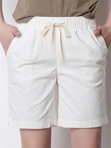 Laid-Back Style Loose Fit Side Slit Pocket Drawstring Thigh-Length Shorts