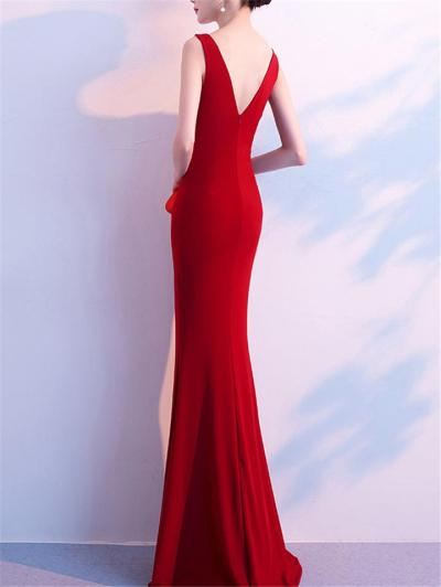 Gorgeous Wrap Neck Fitted Waist Ruched Dress for Evening