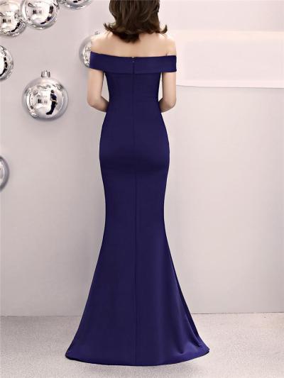 Gorgeous Off Shoulder Asymmetric Design Maxi Dress for Formal Party
