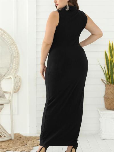 Oversized Turtleneck High Waist Knit Long Dress for Prom