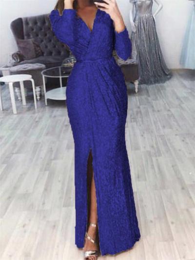 Shimmering Wrap Neck Ruched Waist Side Slit Dress for Prom