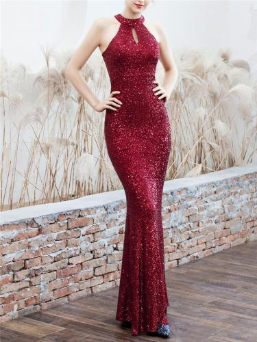 Shiny Sequined Halter Neck Maxi Mermaid Dress for Evening