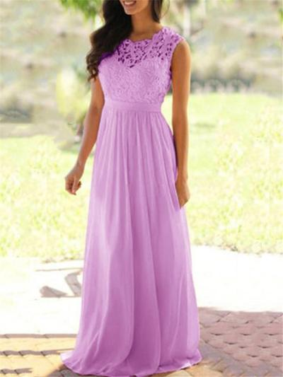 Flattering Fitted Waist Floral Lace Bodice Chiffon Dress for Prom