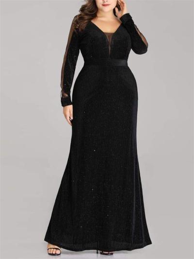 Shimmery Velvet Fitted Waist V Neck Maxi Dress for Prom