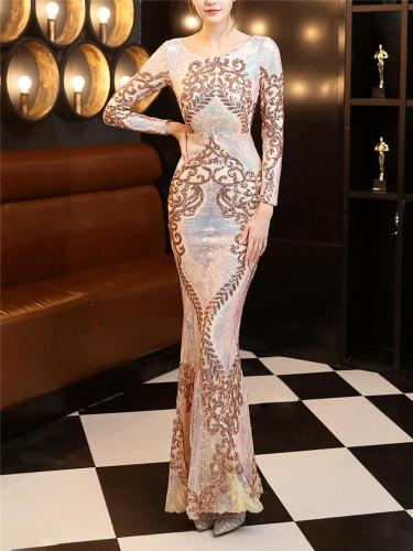 Elegant Sequined Backless Fitted Waist Maxi Dress for Evening