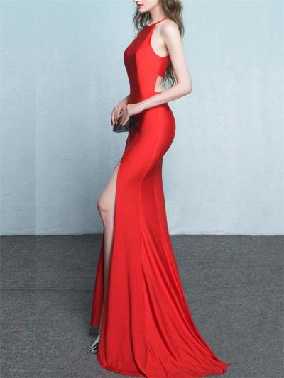 Elegant Halter Neck Trumpet Thigh High Slit Dress for Evening Party
