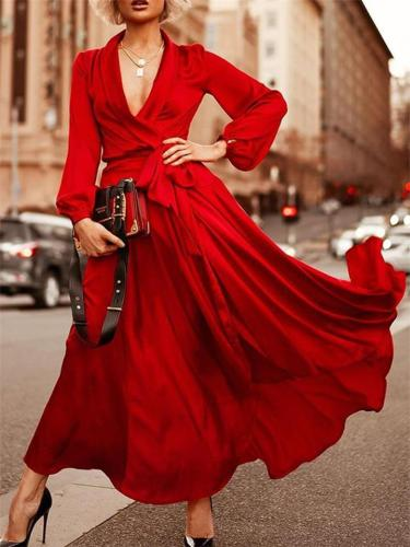 Flowing Wrap Neck Waist Tie Long Sleeve Maxi Dress for Prom