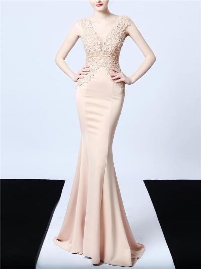 Gorgeous Applique Sweep Train Mermaid Dress for Evening