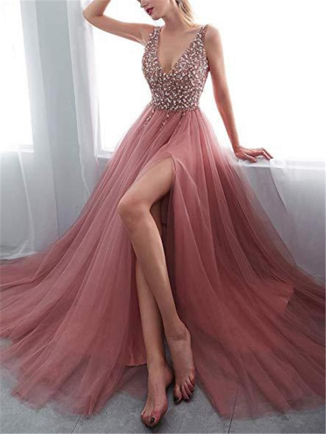 Flattering Sequined Backless Organza Gown for Evening Party