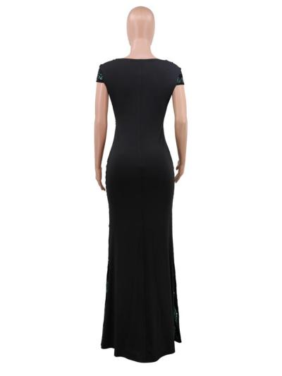 Shimmering Sequined V Neck Cap Sleeve Fitted Waist Dress for Prom