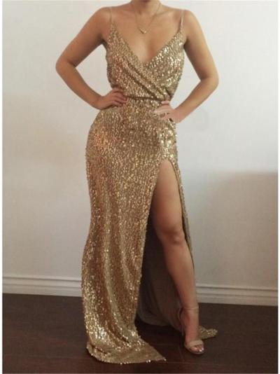 Gorgeous Sequined Wrap Neck High Slit Dress for Evening