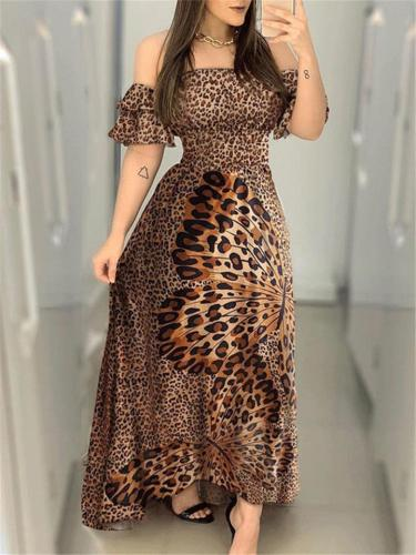 Pretty Leopard Butterfly Printed Off Shoulder Strappy Dress for Prom