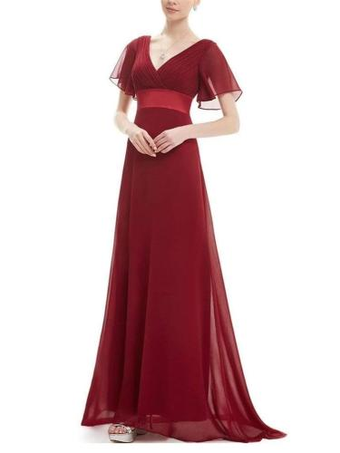 Gorgeous Empire Waist Long Evening Dress with Short Flutter Sleeves