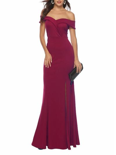 Women's Gorgeous Off Shoulder Bodycon Long Gown Dress with Split