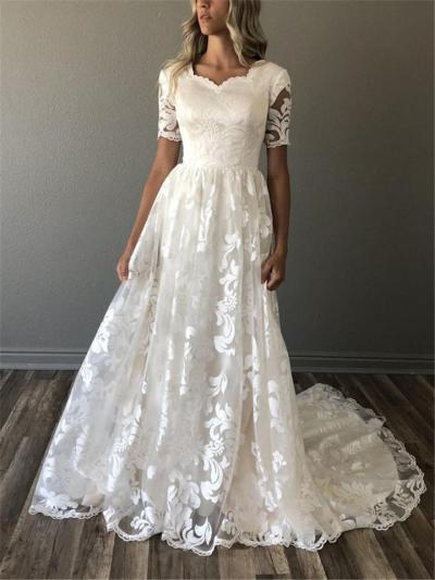 Gorgeous White Floral Short Sleeve Sweep Train Dress for Wedding