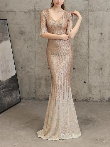 Shiny Sequined V Neck Fitted Waist Mermaid Maxi Dress for Evening Party