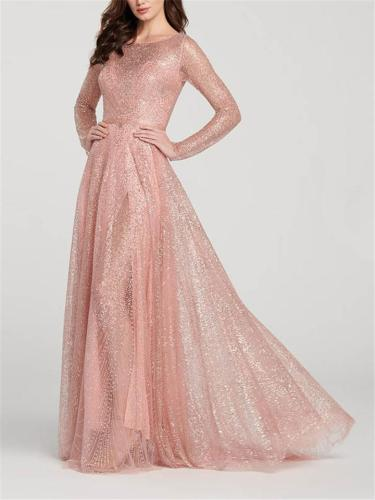 Flattering Beaded Round Neck Long Sleeve Maxi Dress for Evening