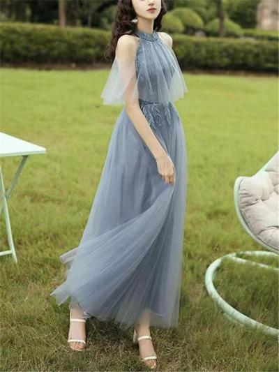 Stunning Applique Off Shoulder Halter Neck Tulle Gown for Evening Party