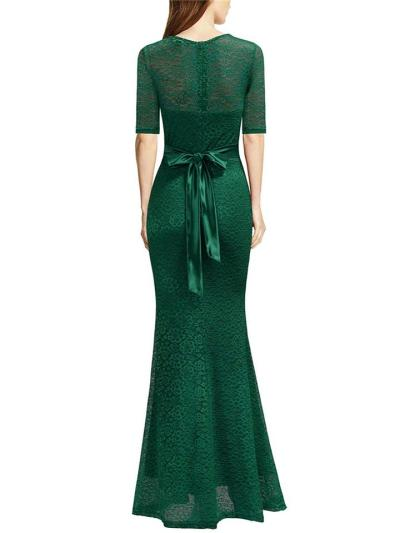 Gorgeous Applique Waist Tie Maxi Dress for Formal Party