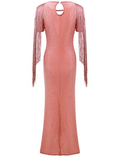 Flattering Round Neck Short Sleeve Fringed Back Slit Dress for Prom