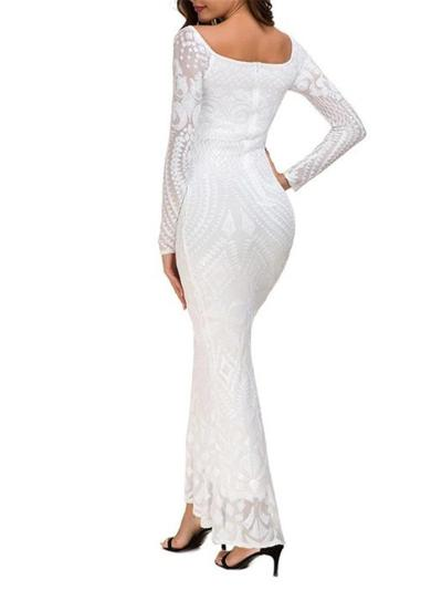 Flattering Sequined Long Mermaid Dress for Evening Party