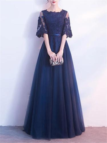 Pretty Applique Fitted Waist A Line Lace Dress for Formal Party