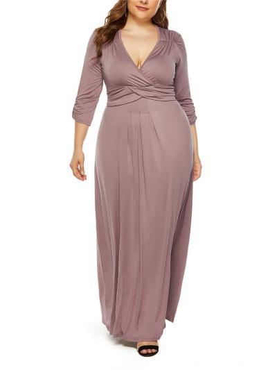 Elegant Ruched Design Fitted Waist V Neck Dress for Evening Party